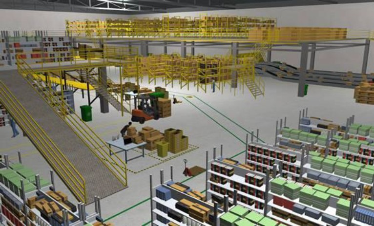 Amazon Warehouse Scene
